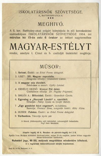 Meghívó magyar-estélyre, Iskolatársnők Szövetsége, 1914