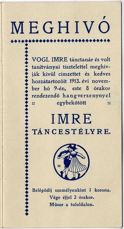 Meghívó hangversennyel egybekötött Imre táncestélyre, Vogl Imre, 1913