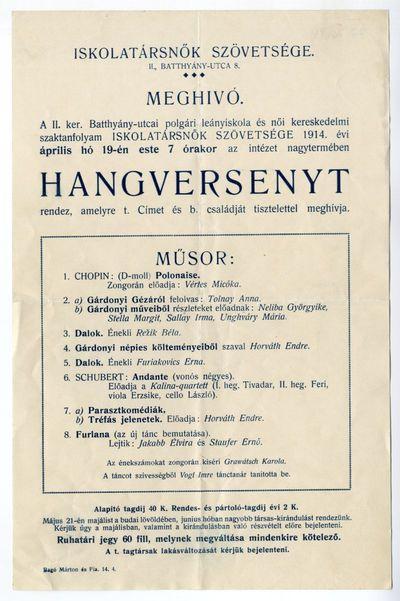 Meghívó hangversenyre, Iskolatársnők Szövetsége, 1914