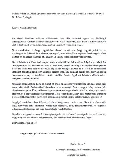 Dr. Dénes György köszöntése