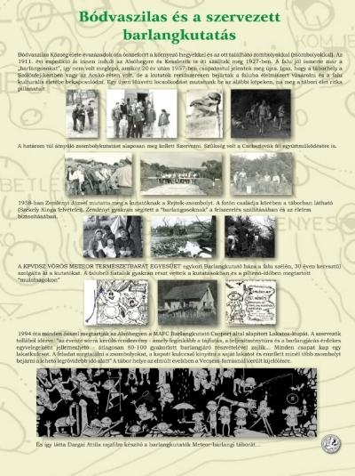 Bódvaszilas és a szervezett barlangkutatás kiállítási tablókép