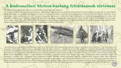A Bódvaszilasi Meteor-barlang feltárásának története kiállítási tablókép