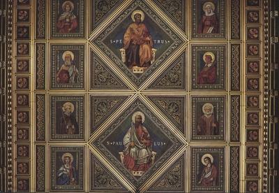 A szentély kazettás mennyezete a Székesegyházban