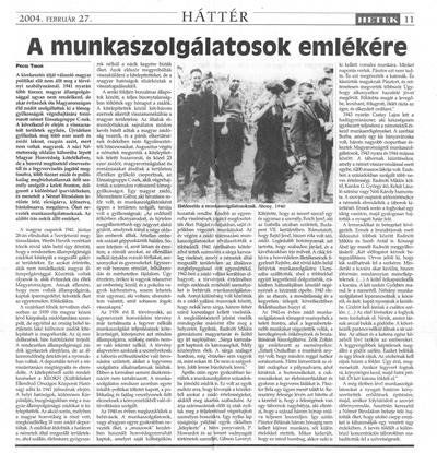 A munkaszolgálatosok emlékére - újságcikk