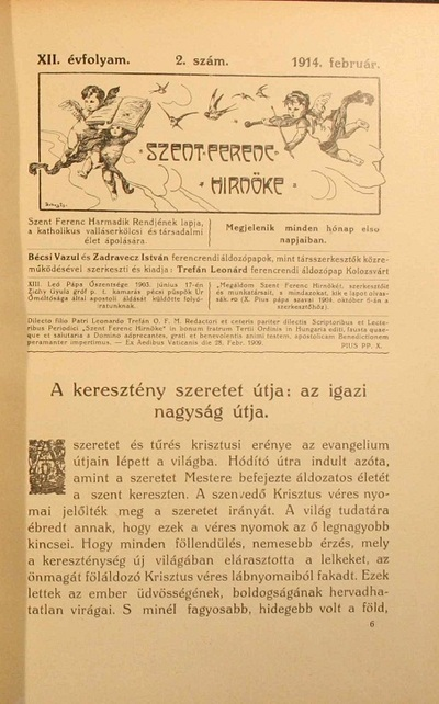 Szent Ferenc Hírnöke 1914. február