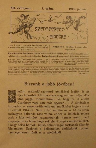 Szent Ferenc Hírnöke 1914. január