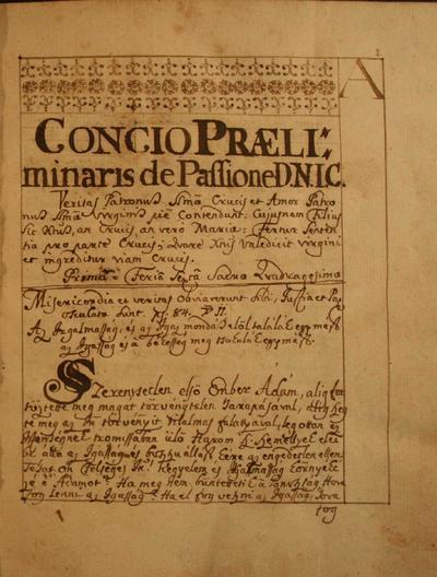 Concio Praeli: minaris de Passione D. N. I.C.
