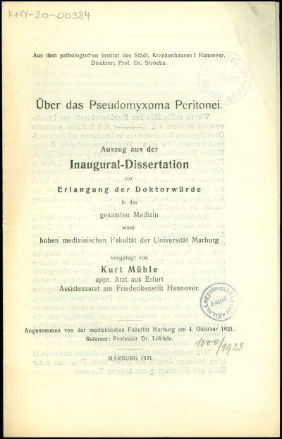 Über das Pseudomyxoma Peritonei