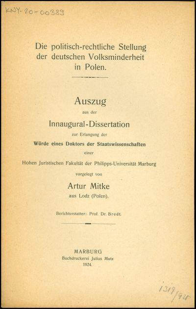 Die politisch-rechtliche Stellung der deutschen Volksminderheit in Polen