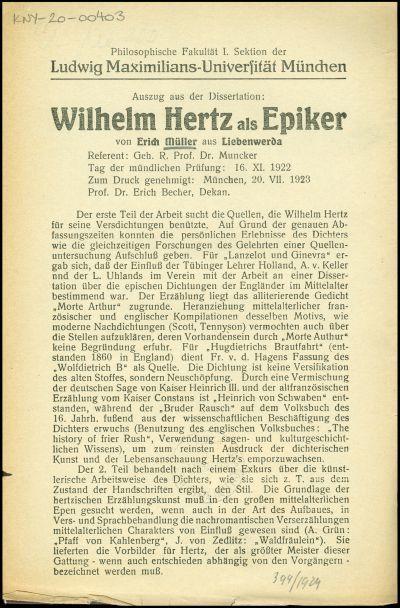 Wilhelm Hertz als Epiker