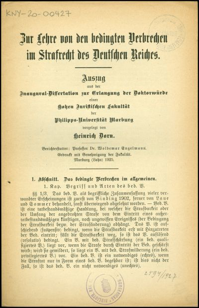 Zur Lehre von den bedingten Verbrechen im Strafrecht des Deutschen Reiches