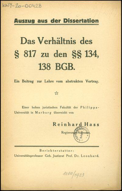 Das Verhältnis des § 817 zu den §§ 134, 138 BGB.