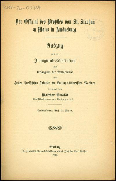 Der Official Propstes von St. Stephan zu Mainz in Amöneburg