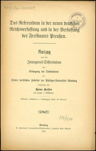 Das Referendum in der neuen deutschen Reichsverfassung und in der Verfassung des Freistaates Preussen