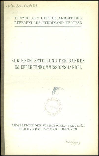 Zur Rechtsstellung der Banken im Effektenkommissionshandel