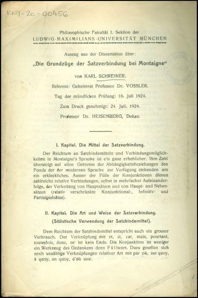 Die Grundzüge der Satzverbindung bei Montaigne