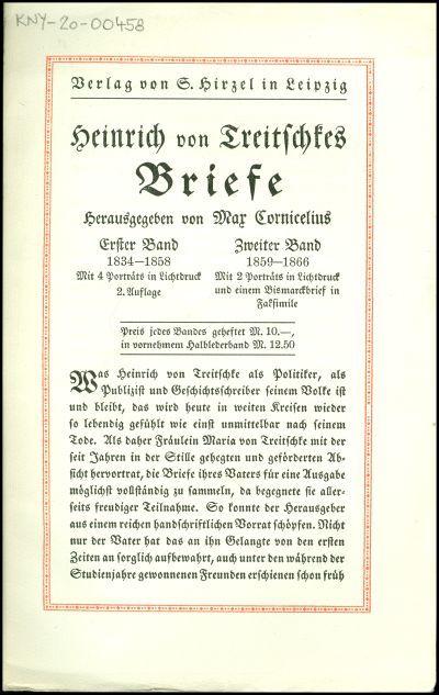Heinrich von Treitschkes Briefe
