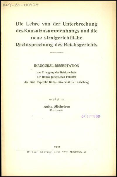 Die Lehre von der Unterbrechung des Kausalzusammenhangs und die neue strafgerichtliche Rechtsprechung des Reichsgerichts