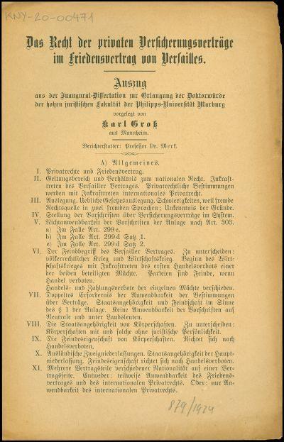 Das Recht der privaten Versicherungsverträge im Friedensvertrag von Versailles