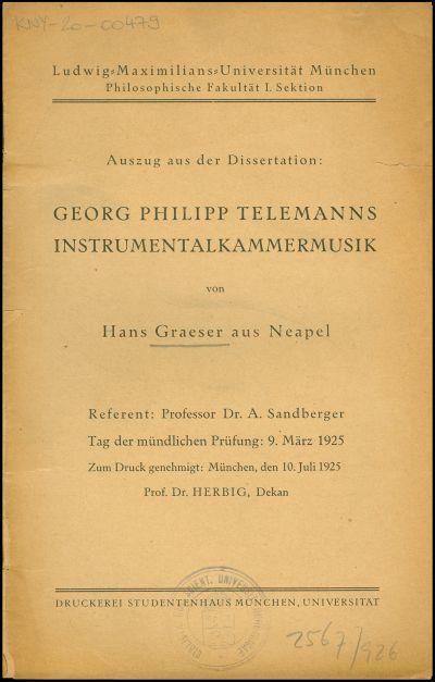 Georg Philipp Telemanns Instrumentalkammermusik