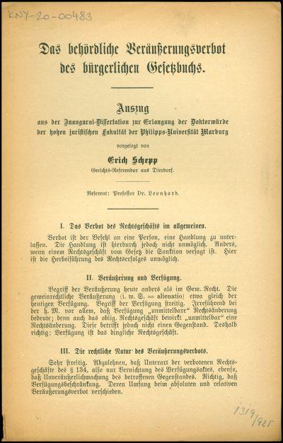 Das behördliche Veräusserungsverbot des bürgerlichen Gesetzbuchs