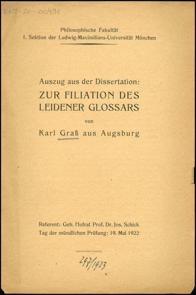 Zur Filiation des Leidener Glossars