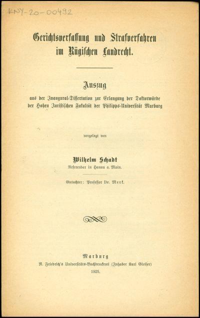 Gerichtsverfassung und Strafverfahren im Rügischen Landrecht