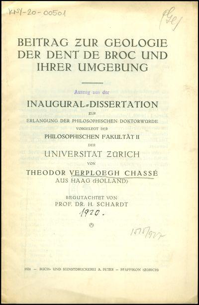 Beitrag zur Geologie der Dent de Broc und ihrer Umgebung