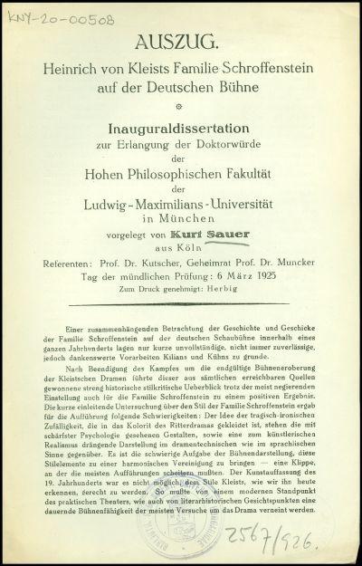 Heinrich von Kleists Familie Schroffenstein auf der Deutschen Bühne