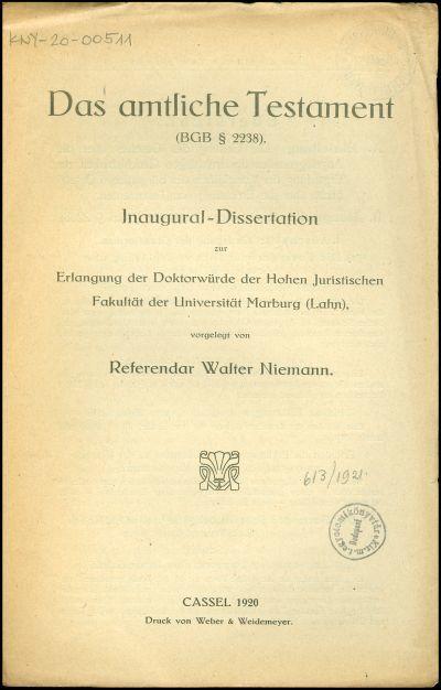 Das amtliche Testament (BGB § 2238)