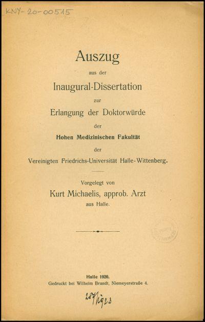 Auszug aus der Inaugural-Dissertation zur Erlangung der Doktorwürde der Hohen Medizinischen Fakultät der Vereinigten Friedrichs-Universität Halle-Wittenberg