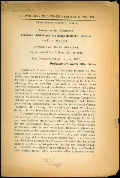 Friedrich Hebbel und die ältere deutsche Literatur