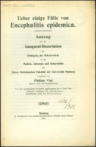 Ueber einige Fälle von Encephalitis epidemica