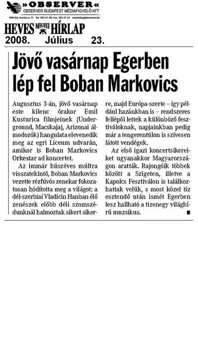 Jövő vasárnap Egerben lép fel Boban Markovics