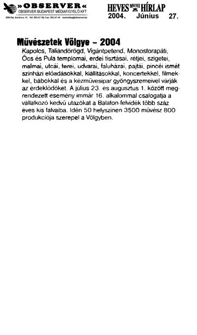 Művészetek Völgye - 2004