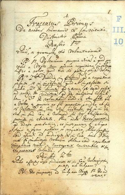 Tractatus primus. De actibus humanis et conscientia
