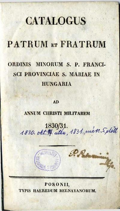 Catalogus patrum et fratrum 1830-1831.
