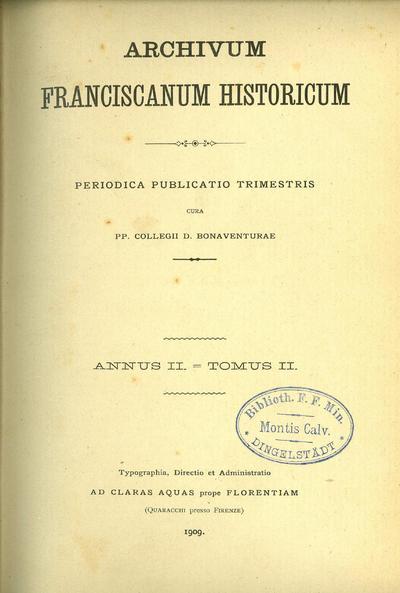 Archivum Franciscanum Historicum 1909
