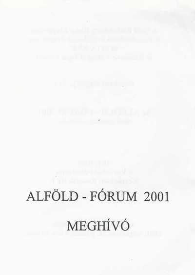 Meghívó Alföld-Fórum