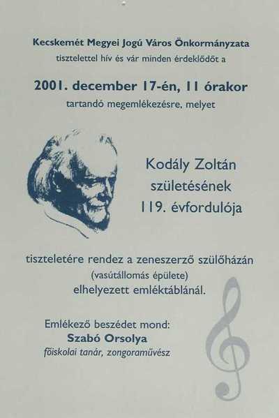Meghívó Kodály Zoltán