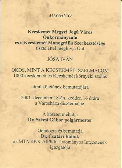 Meghívó Jósa Iván könyvbemutatójára