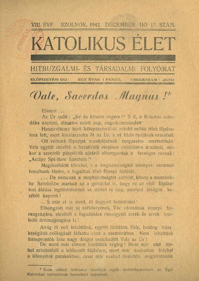 Katolikus Élet VIII. évfolyam, 1942. december