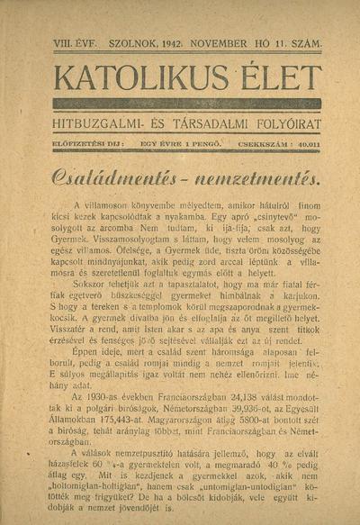 Katolikus Élet VIII. évfolyam, 1942. november