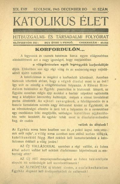 Katolikus Élet XIX. évfolyam, 1943. december
