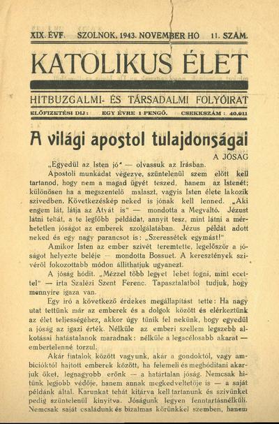 Katolikus Élet XIX. évfolyam, 1943. november