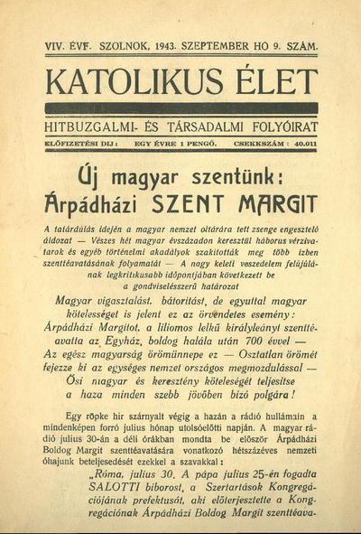 Katolikus Élet XIX. évfolyam, 1943. szeptember
