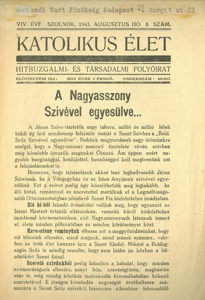 Katolikus Élet XIX. évfolyam, 1943. augusztus
