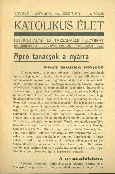 Katolikus Élet XIX. évfolyam, 1943. július