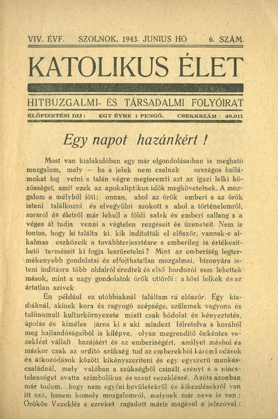Katolikus Élet XIX. évfolyam, 1943. június