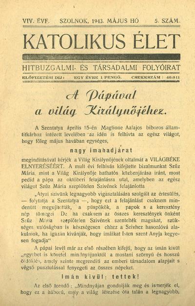 Katolikus Élet XIX. évfolyam, 1943. május